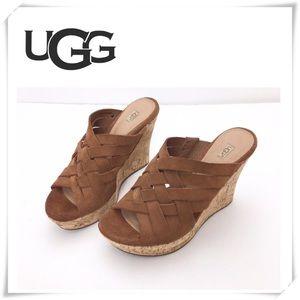 UGG Marta Suede Wedge Sandal Chestnut Tan Brown